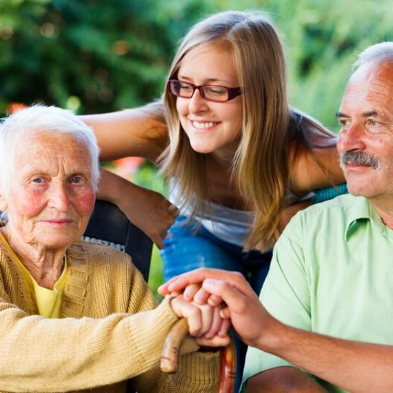 girl with elderly grandparents, home healthcare