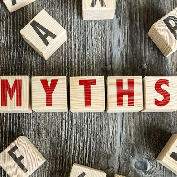"wood blocks spelling out ""myths,"" don't believe these common misconceptions about home healthcare"
