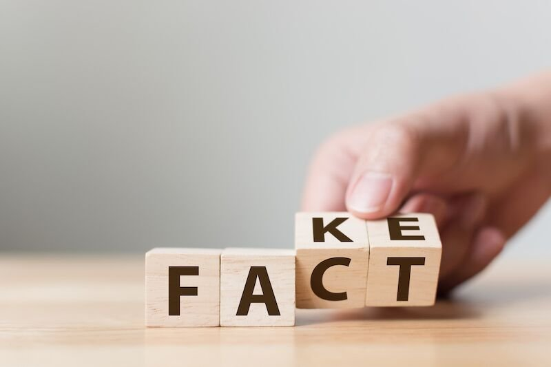 "wood blocks that spell out ""fact"" and ""fake,"" home care misconceptions"